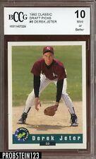 1992 Classic Draft Picks #6 Derek Jeter RC Rookie BCCG 10 HOF Yankees