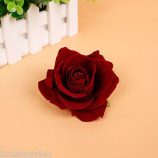 "1"" Wine Red Bridal Rose Flower Hair Clip Hairpin Brooch Wedding Party Accessorie"