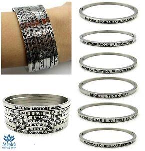 Bracciale rigido da donna in acciaio a manetta con scritta braccialetto argento