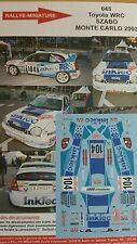 DÉCALS 1/18 réf 645 Toyota WRC Szabo Monte Carlo 2003