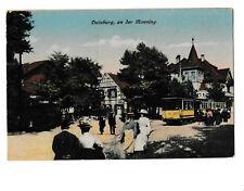 Seltene alte colorierte AK ca 1920@DUISBURG, an der Monning@Straßenbahn-Menschen