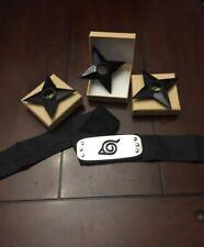Naruto Anime Leaf Village Headband + Ninja Star Set Shuriken Kunai Plastic Toy