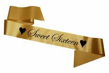 Gold Sweet Sixteen Sash Party Sashes Celebration Birthday Cheap Teenager