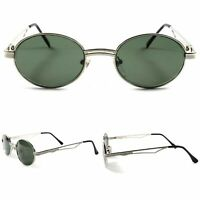 Old School Genuine Vintage Fashion Mens Womens Oval Round Silver Sunglasses