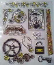 TIMBRO Trasparente Lampadina A INGRANAGGI BICI Uomo CHIAVE Grunge Steampunk Card Making Scrapbooking