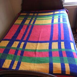 IBENA Germany Bold Color Plaid Cotton Blend Reversible Blanket Throw