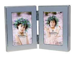 Double Miniature Photo Frame 2 x 3 Holds 2 Pictures Twin Folding Portrait Frame