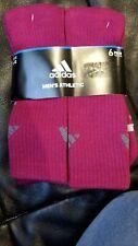 Adidas Original 6 Pack Mens And Women Athletic Magenta Cushioned Crew Socks