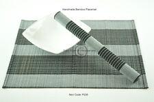 4 Hecho a Mano Madera de Bambú Manteles Individuales Tapetes De Mesa, Blanco-Negro P036