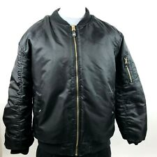 Ablanche Mens Satin Bomber Jacket XXL Black Insulated