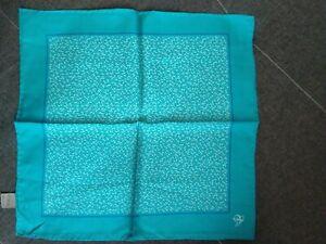New Luxury Canali men 100% silk geometric print  pocket square Italy sky blue
