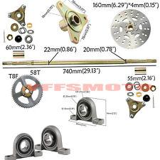 Drift Trike Gokart Rear Axle Wheel Kit Hub Disc Rotor Assembly Sprocket ATV Cart
