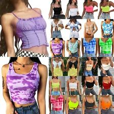 Womens Sleeveless Vest Crop Tops T-shirt Casual Slim Sexy Cami Tank Tee Clubwear