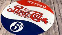 """VINTAGE DRINK PEPSI COLA ADVERTISING 12"""" PORCELAIN METAL SODA POP GAS OIL SIGN"""