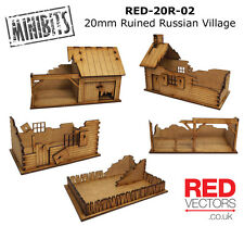 RED-20R-02 - 20mm Wargames - Ruined Russian Village (5 buildings)