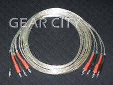 cjc00 2.5m 8ft Speaker Cable OFC 100 Strand Wire Silver Banana Spade Plug HiFi