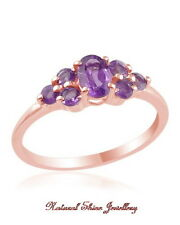 Ring 1.00 CT. Amethyst 925 Sterling Silver-18k Rose Gold Flashed US Size 7 3/4