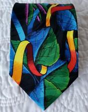 EUC *Rush Limbaugh* 100% Silk Multicolored Leaves and Ribbons Black Necktie Tie