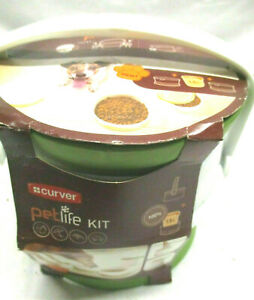 NEW CURVER PETLIFE TRAVEL OR HOME PET BOWLS WITH CARRY HANDLE WHITE & GREEN