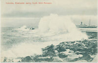 """CEYLON 1910, superb mint b/w pc """"Colombo, Breakwater during South West Monsoon"""""""