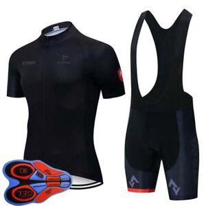Mens Team Bike Outfits Cycling Jersey Bib Set Summer Short Sleeve Sports Uniform