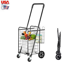 Folding Shopping Cart Rolling Utility Trolley Portable Basket For Grocery Travel