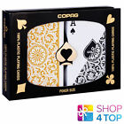 COPAG REGULAR INDEX DOUBLE DECK 100% PLASTIC POKER PLAYING CARDS BLACK GOLD NEW