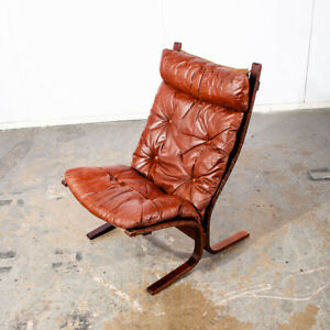 Mid Century Danish Modern Lounge Chair Siesta Red Leather Relling Westnofa Mcm