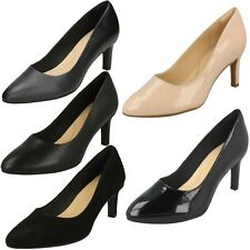 Ladies Clarks Textured Slip On Leather Heeled Smart Court Shoes Calla Rose