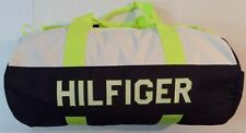 NWT TOMMY HILFIGER  LARGE DUFFLE BAG   BLUE- WHITE -NEON -GREEN