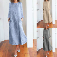 Women Casual Striped Print Long Sleeve Dress Crew Neck Linen Pocket Midi Dress