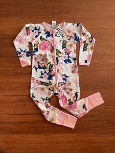 Bonds Baby Flower Market Pink Purple White Floral Zip Wondersuit Size 2 BNWT