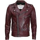 VIPARO Mens Oxblood Red Burgundy Maroon Brando Leather Biker Jacket - MB1
