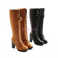 Vintage Gladiators Lace Up Knee High Block Heel Boots Round Toes Ladies Shoes