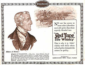 Antique.Genuine.Duke of Wellington.Advert.Red tape.Whisky.1920.Military.Army.War