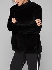 ATHLETA WOMEN'S LONG SLEEVE BLACK VELOUR TURTLENECK SWEATSHIRT TOP Sz XL