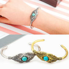 Fashion Women Retro Turquoise Feather Leaves Open Bracelet Cuff Bangle Jewelry