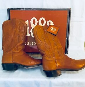 LUCCHESE 1883 MEN'S CAMEL LEATHER WESTERN COWBOY BOOTS N1505R4 SIZE 10.5 EE