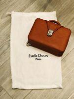 Vintage Estelle Danan Paris Hiney Leather Mini Suitcase Purse-Mirror- Made Italy