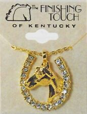 New Gold Tone Horse Head with Crystal Stone Horse Shoe Necklace