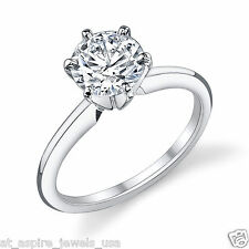 2.00 CT BRILLIANT CUT SOLITAIRE RING ENGAGEMENT SOLID 14K WHITE GOLD
