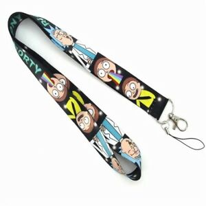 Rick and Morty Lanyard Characters On Black Lanyard U.S. SELLER