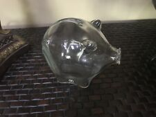 Midcentury modern Cascade clear glass piggy bank England with original tag