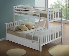 Modern white children's triple bunk bed frame inc 2 underbed drawers - 3ft