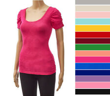 Women's Scoop Neck T-Shirt Short Ruched Puff Sleeves Soft Cotton Knit Basic Top