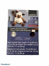 Crelando Cuddly Sheep Knitting Kit Soft Decorative Stuffed Animal Fuzzy Eyelash