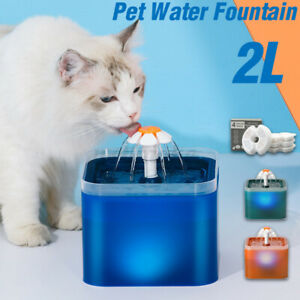 2L Automatic USB LED Electric Pet Water Fountain Cat/Dog Drinking Dispenser