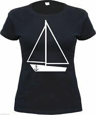 Damen T-Shirt - SEGELSCHIFF - Schwarz/Weiss - schiff anker boot girly shirt