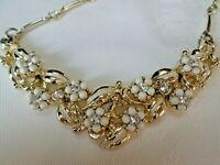 Vintage necklace Gold tone metal glass Rhinestone & white beads