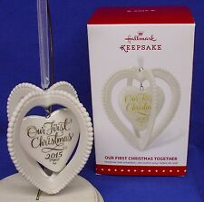 Hallmark Ornament Our First Christmas Together 2015 Porcelain Hearts NIB